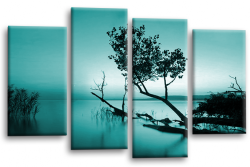 Sunset Landscape Wall Art Picture Teal Cream Canvas Split Panel